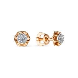 Золотые гвоздики в виде цветов с имитацией большого бриллианта
