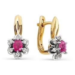 Серьги с рубинами окруженными бриллиантами