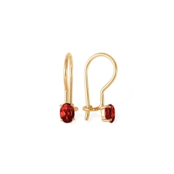 Серьги из красного золота 585 с гранатами
