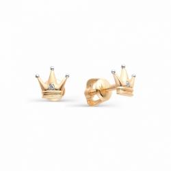 Золотые серьги гвоздики в виде корон с бриллиантами