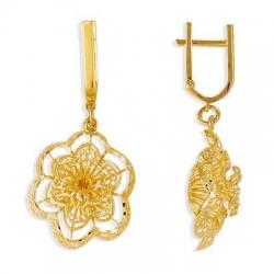 Серьги Цветы из желтого золота