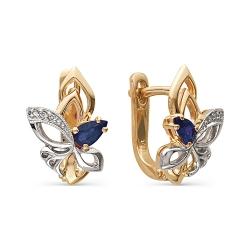 Золотые серьги в виде цветка с сапфирами и бриллиантами