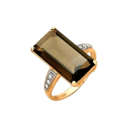 Кольцо из золота 585 пробы с раухтопазом и фианитами