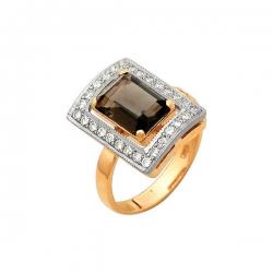 Кольцо из золота с бриллиантами и раухтопазом