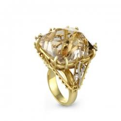 Кольцо из жёлтого золота 585 пробы с раухтопазом