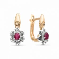 Золотые серьги с бриллиантами и рубинами