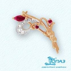 Золотая брошка Тюльпаны с рубином и бриллиантом