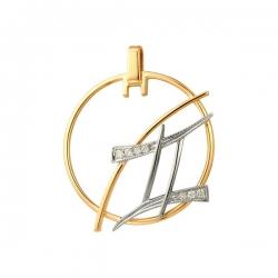Подвеска знак зодиака Близнецы из золота с фианитами