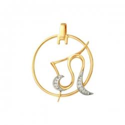 Подвеска знак зодиака Лев из золота с фианитами