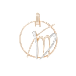 Подвеска знак зодиака Дева из золота  с фианитами