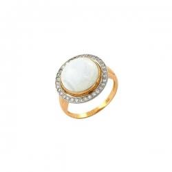 Кольцо из золота 585 пробы с перламутром и фианитами