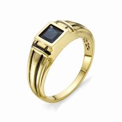 Мужское кольцо из желтого золота с сапфиром