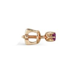 Серьга-гвоздик  из золота с рубином