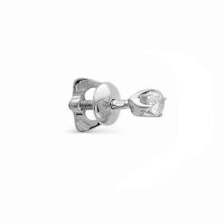 Серьга гвоздик из белого золота с бриллиантом
