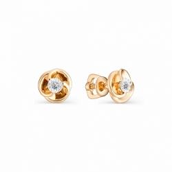Золотые серьги-гвоздики с бриллиантом
