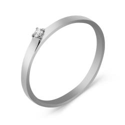 Обручальное кольцо из белого белого золота с бриллиантом