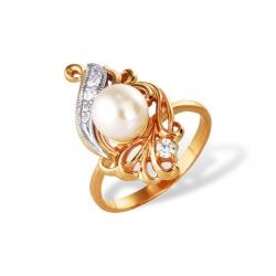 Кольцо из золота 585 пробы с жемчугом и фианитами