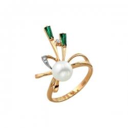 Кольцо из золота 585 пробы с жемчугом, изумрудами, фианитами