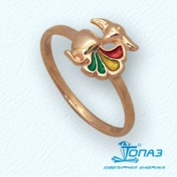 Детское золотое кольцо Попугай с эмалью