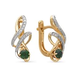 Серьги из золота с изумрудами и бриллиантами