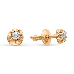 Золотые серьги гвоздики в виде цветов с маленькими бриллиантами