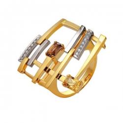Эксклюзивное кольцо Фейерверк из комбинированного золота