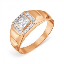 Мужское золотое кольцо с фианитами