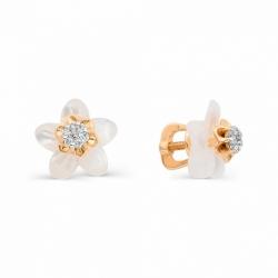 Серьги гвоздики в виде цветов с имитацией большого бриллианта