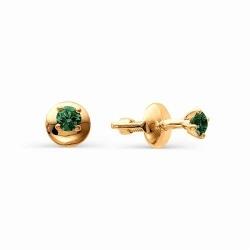 Золотые серьги гвоздики с маленькими изумрудами