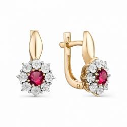 Серьги из золота с рубином и бриллиантом