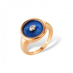 Кольцо-печатка из золота с бриллиантом и эмалью