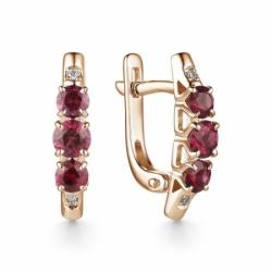 Серьги из красного золота рубином и бриллиантом