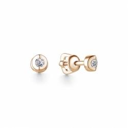 Серьги-гвоздики из красного золота бриллиантом
