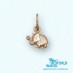 Детская золотая подвеска Слон с фианитом