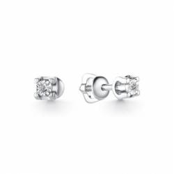 Серьги-гвоздики из белого золота бриллиантом