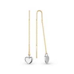 Серьги-продёвки с сердечками из комбинированного золота