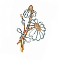 Золотая брошка Ромашки с бриллиантами