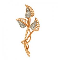Золотая брошка Листочки с бриллиантами