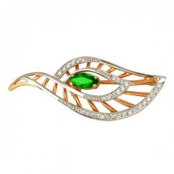 Золотая брошка Листок изумрудом и бриллиантами