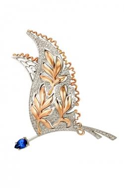 Золотая брошка Птица с сапфиром и бриллиантами