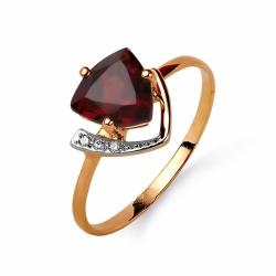 Золотое кольцо с гранатом, фианитами