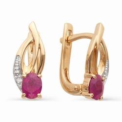 Золотые серьги с овальными рубинами