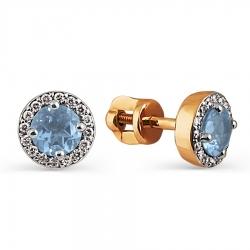 Золотые серьги-гвоздики с топазом и бриллиантом
