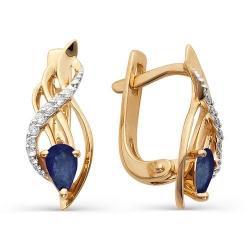 Золотые серьги с сапфирами и бриллиантами