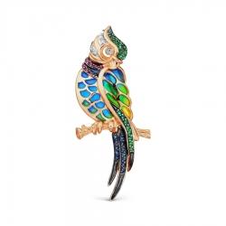 Золотая брошка Попугай с эмалью и изумрудом, сапфиром, рубином, бриллиантом