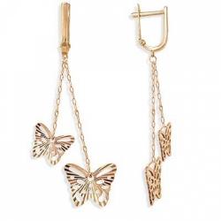 Золотые серьги Бабочки