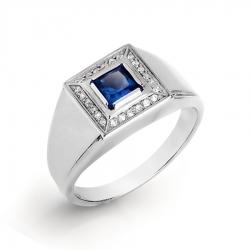 Мужское кольцо из белого золота с сапфиром ГТ и бриллиантом