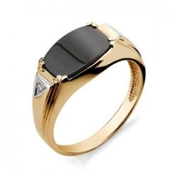 Золотая печатка с бриллиантами, фианитом