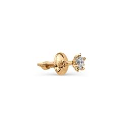 Золотая серьга гвоздик с бриллиантом