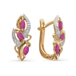 Золотые серьги с рубинами формы маркиз